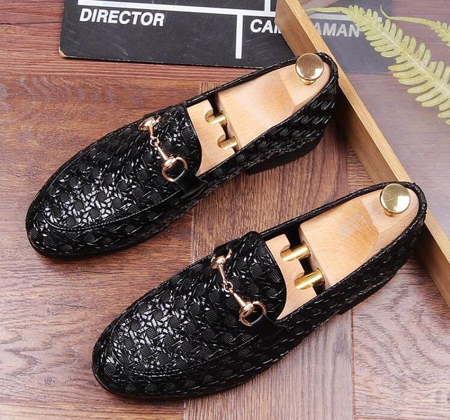 26de7d6e4267 ... Pointed Toes Men Dress Shoes Smart Casual Moccasin Gommino Flats  Knitting Handmade Slip-On Loafers ...