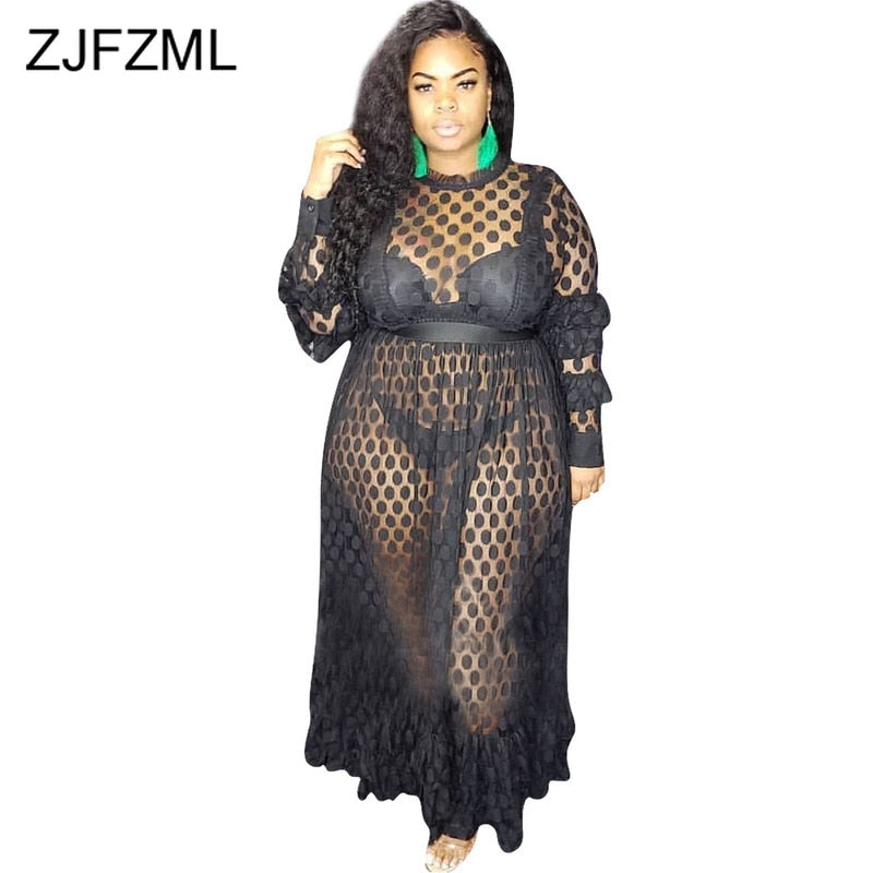Polka Dot Transparent Mesh Plus Size Dress Women Long Sleeve Ruffles Fit  and Flare Long Dress Ladies Black White Pleated Dress