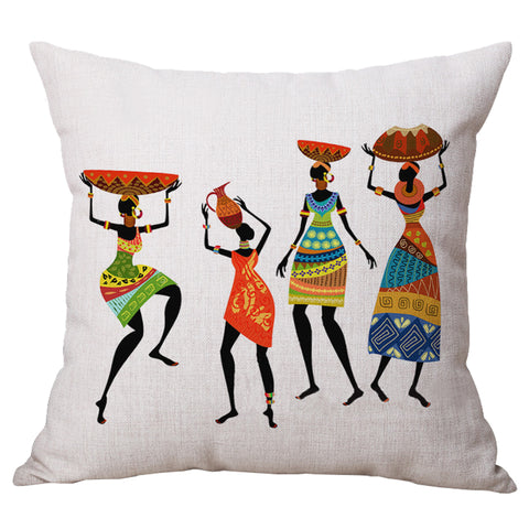 Practical Boutique Home Decoration, Beautiful African Women Ethnic style Art images Linen Cushion Cover