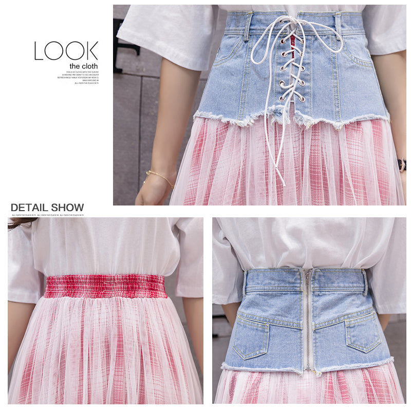 41cd9591d Preppy style high waist denim bandage skirt female plaid print mesh pleated  tulle skirts womens long. Hover to zoom