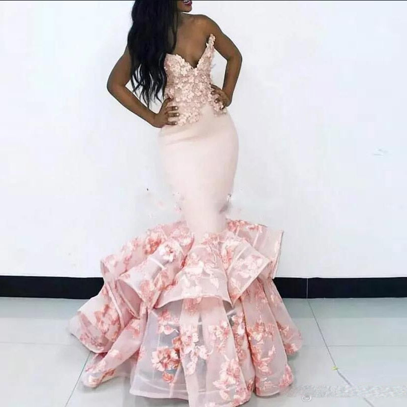 73f66a9fa9f Pretty Blush Pink Mermaid Prom Gowns 2018 Ruffles Lace Appliques African  Long Evening Gowns Off Shoulder. Hover to zoom