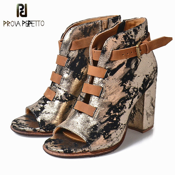 Prova Perfetto 2018 Spring Fall Shoes Ankle Boots For Women Bling Belt Buckle Boots Square High Heels Sexy Peep-Toe Woman