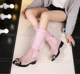 Prova Perfetto Botas Mujer Winter Knitting  Boots Mid-Calf Flat Colorful Crystal Shoes Women Elastic Warm Slip-on Boots New