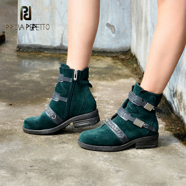 Prova Perfetto British Short Boots Cow Suede Leather Chelsea Boots Belt Buckle Color Matching Boots Green Blue Metal Ring Decor