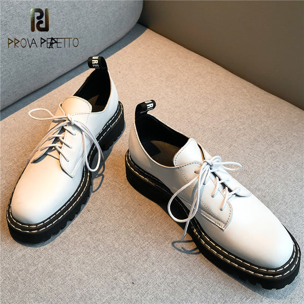 Prova Perfetto Chaussures Femme Basic Leisure Oxfords Shoes Sewing Flat S Walking Shoes Suede Off White Classics Woman Shoes