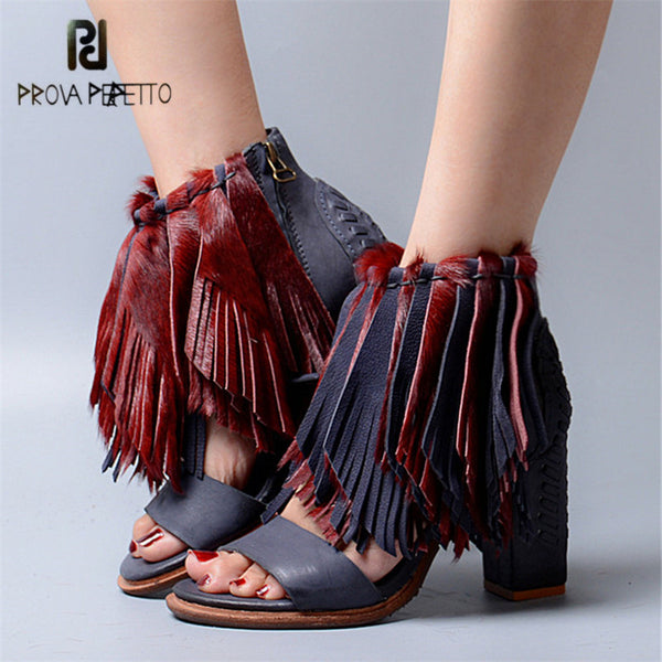 Prova Perfetto Genuine Leather Horsehair Women Summer Sandals Tassels Chunky High Heels Gladiator Sandal Fringed Women Pumps