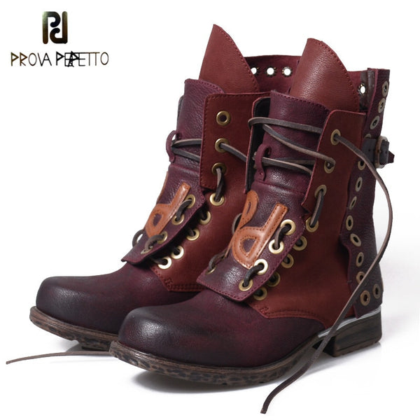 Prova Perfetto Lace Up Do Old Good Boots Women Motorcycle Shoe Rivets British Winter Retro Shoes Students Mixed Color Boot