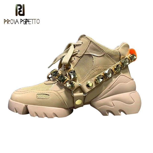 Prova Perfetto Luxury Rhinestone Genuine Leather Sneakers Women Plush In Non-Slip Dad Shoes Woman Front Lace-Up Outdoor Scarpe