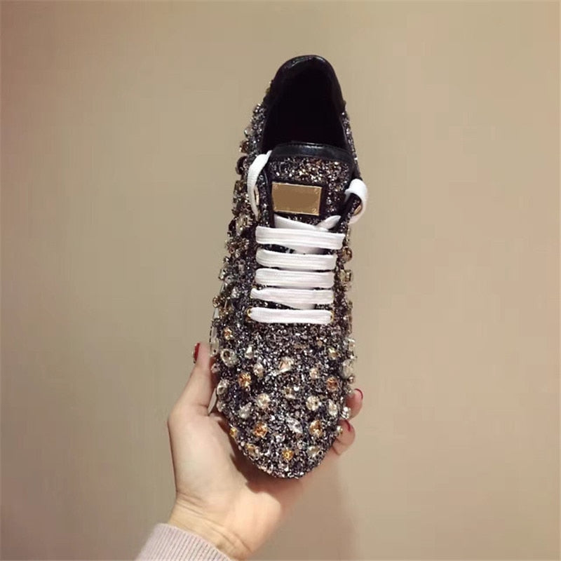 1a89476f7b294 Hover to zoom · Prova Perfetto New Rhinestones Sneakers Women Shoe Laces  Paillette Spell Color Flat Shoes Ladies Real Leather