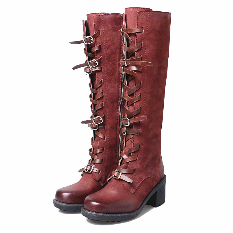 3af82fe8e480 Prova Perfetto Red Women Knee High Boots Handmade Martin Boot Female Autumn  Winter High Heel Boots. Hover to zoom