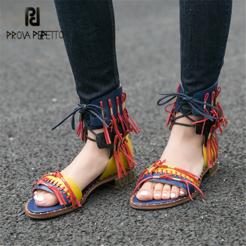2a01007f1e77 Prova Perfetto Retro Summer Women Gladiator Sandals Fringed Flat Beach Shoes  Woman Lace Up Sandalias Mujer ...