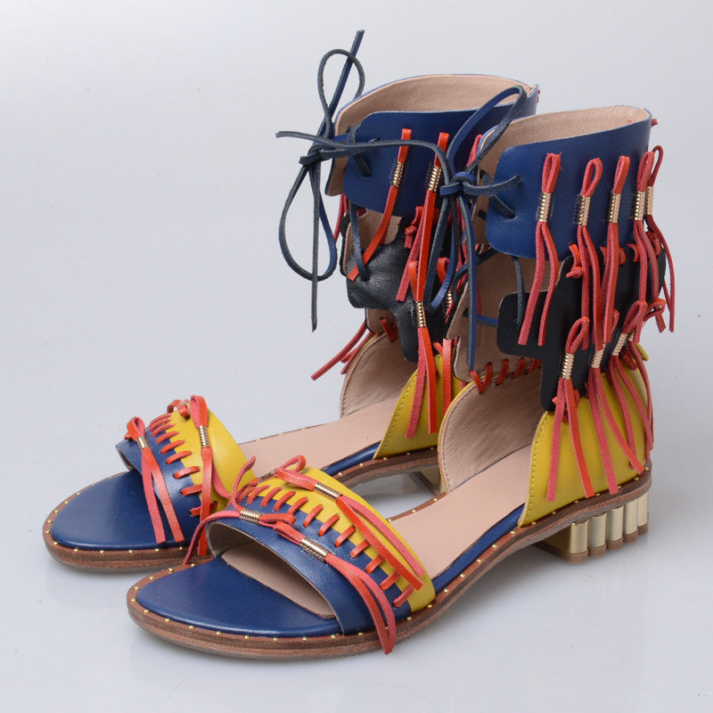 250f8d831ba0 ... Prova Perfetto Retro Summer Women Gladiator Sandals Fringed Flat Beach Shoes  Woman Lace Up Sandalias Mujer ...