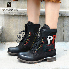 af80a95f6d127 Prova Perfetto Retro Women Martin Boots Black Lace Up Genuine Leather  Handmade Ankle Boots for Women ...