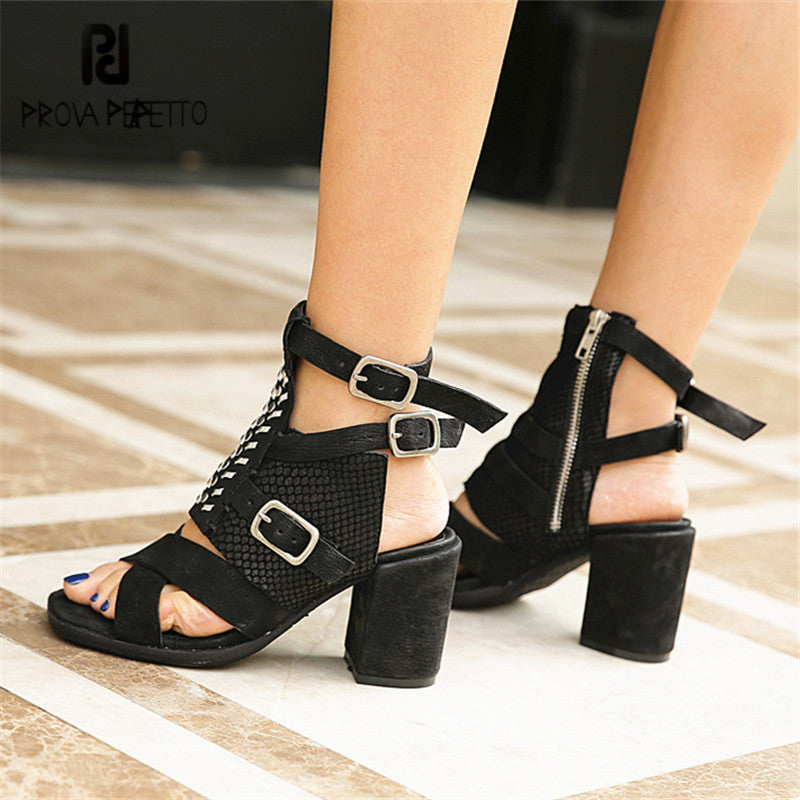 Prova Perfetto Sexy Black Women Summer Gladiator Sandals Chunky High Heel  Dress Shoes Woman Soft Leather ... abc700a90adc