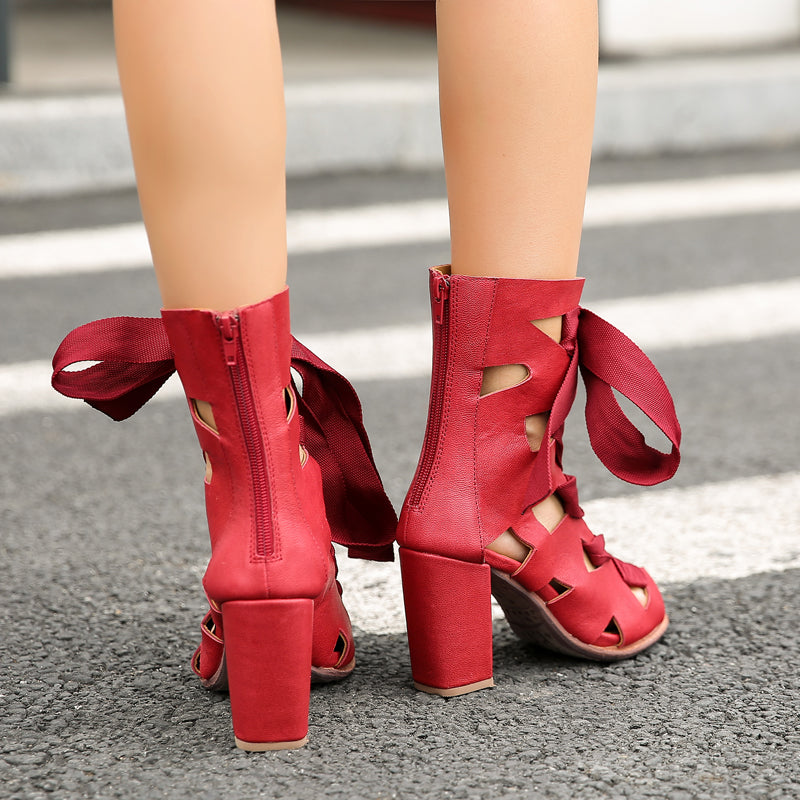d598647ab83 Prova Perfetto Sexy Red Hollow Out Gladiator Sandals Peep Toe Women Summer  Boots Chunky High Heels Lace Up Women Pumps Stiletto