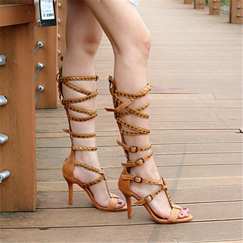 ... Prova Perfetto Sexy Women Gladiator Sandals Buckle Straps High Heel  Shoes Woman Hollow Out Summer Boots ... 9715f719e