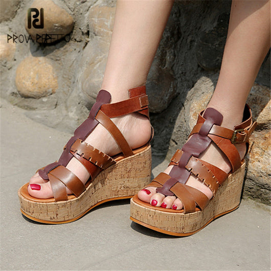 Elastic Women Platform Sandal Wedge heel shoes Knitted Fabric Hollow out Creeper