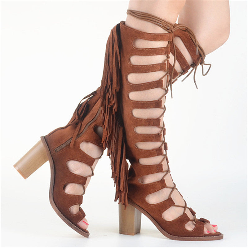 ca66473d872 ... Prova Perfetto Suede Lace Up Tassels Women Gladiator Sandals Hollow Out  Chunky High Heel Summer Boots ...