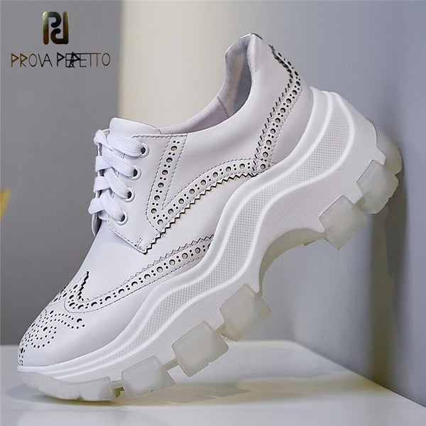 Prova Perfetto Thick Bottom Sneakers Women Chunky Platform Off White Fretwork Fashion Shoes Leisure Tenis Feminino Madam Shoes