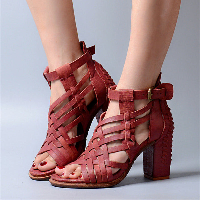 2ab62726b0 Prova Perfetto Weave Hollow Out Summer Women Sandals Chunky High Heel Shoes  Woman Peep Toe Genuine Leather Gladiator Sandal
