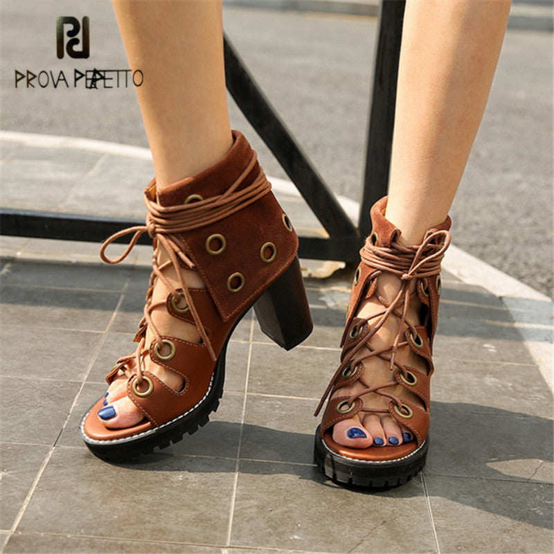 ea4a70ef428 Prova Perfetto Women Lace Up Gladiator Sandals Chunky High Heels Hollow Out  Women Platform Pumps Sandalias ...