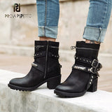 Prova Perfetto european women short boots rivet belt buckle motorcycle boots black genuine leather chunky heel retro martin boot