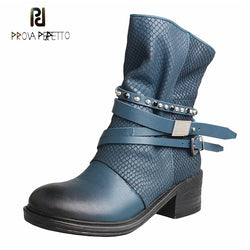 Prova Perfetto handmade women genuine leather short boots rivet stud belt buckle punk style boot side zipper female riding boots