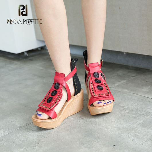 Prova Perfetto metal ring mixed color cow leather gladiator sandals women buckle strap platform flat causal sandals wedge heels