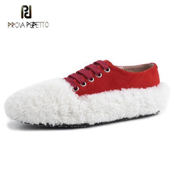 Prova Perfetto new spring women casual shoe suede wool fur lace up flat shoe red black pink loafers fashion runway shoes females