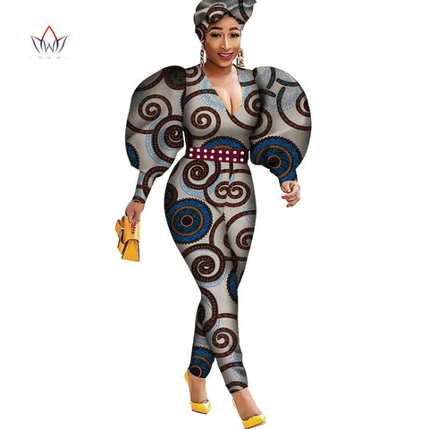 Puff Long Sleeve Women Jumpsuit Bazin  African Jumpsuit for Women Ankara Print Romper Jumpsui Women African Clothing WY4268