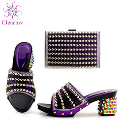 Purple Color African Shoe and Bag Set Italian Shoes and Bags Set Envio Gratis Matching Italian Shoe and Bag Set Nigerian Shoes