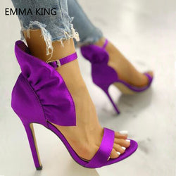 Purple Satin Cloth Ruffles Embellished Thin Heels Sandals Female Open Toe Buckle Sexy High Heels Summer Party Casual Women Shoes