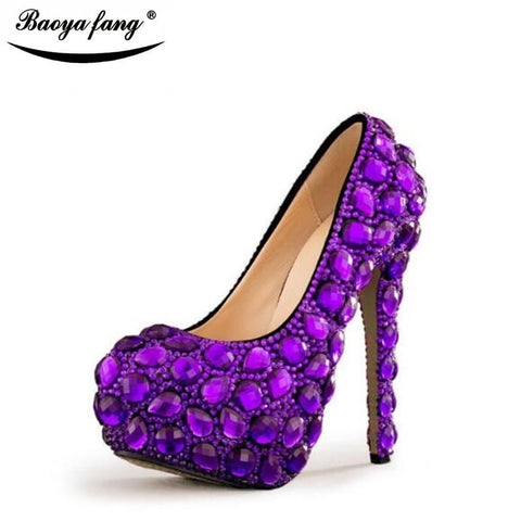 Purple Womens wedding shoes high heels platform shoes Ladies Paty Dress shoes with matching purse Big size 34-43