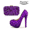 Image of Purple Womens wedding shoes high heels platform shoes Ladies Paty Dress shoes with matching purse Big size 34-43