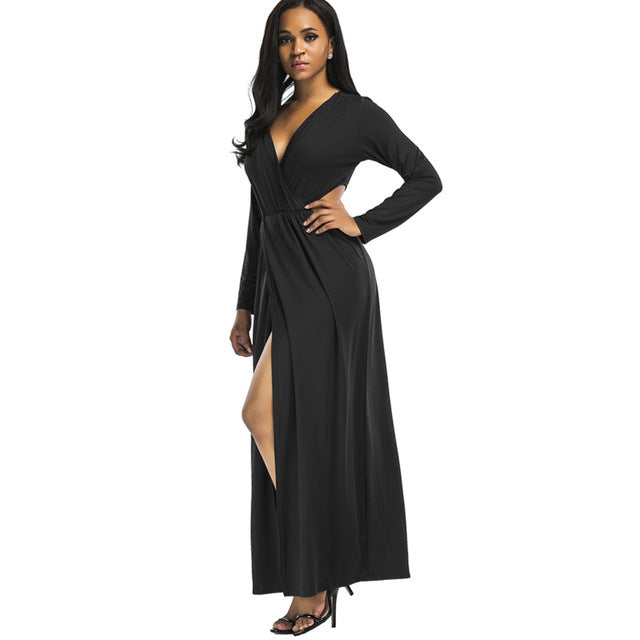 34c6a134ef91a QIUXUAN Plus Size Women Long Sleeve Maxi Wrap Dress Fashion Cutout Waist  Cross Front Plunge Dress Ruched Detail High Waist Dress
