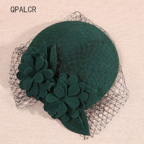 QPALCR Women Fascinators Wool Pillbox Hat Mesh Floral Felt Hats Winter Vintage Festival Party Wedding Ladie Fedoras Hat Berets