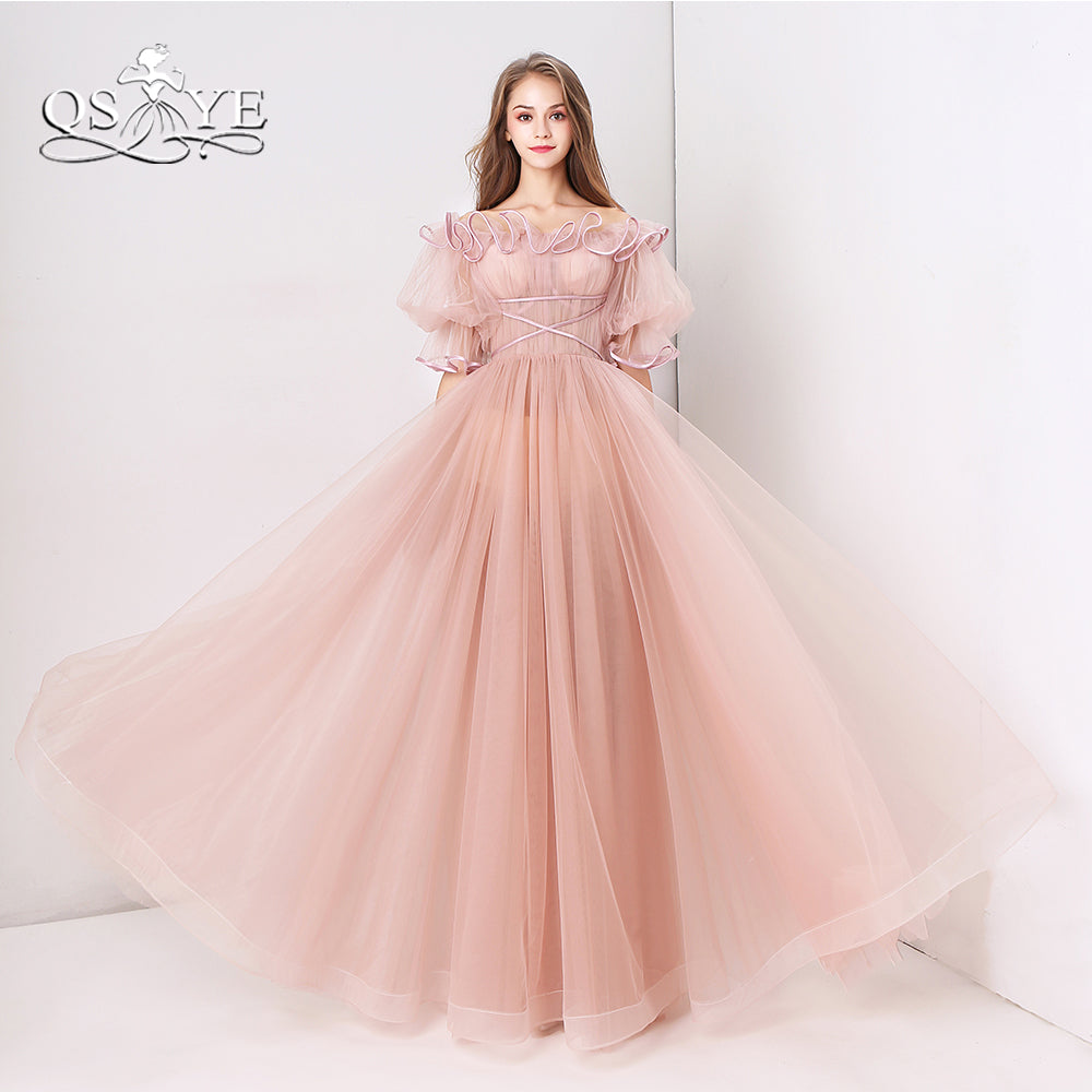 QSYYE Pink Long Prom Dresses 2018 Robe de Soiree Off Shoulder Ruffles Neck  Floor Length Tulle ... b8aede7a549a