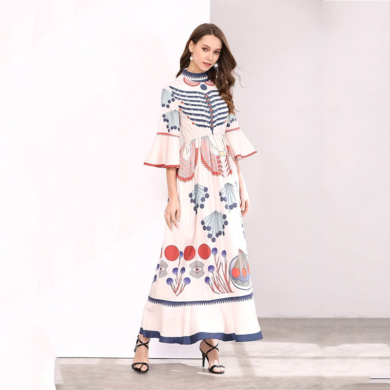 dbe558fc39e QYFCIOUFU 2018 Summer High Quality Fashion Pink Maxi Dress Long Sleeve  Women Runway Floral Print Vintage. Hover to zoom