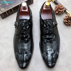 QYFCIOUFU Alligator Skin Men Shoes For Wedding Genuine Leather Suit Men Buckle Oxford Shoes Lace-Up Business Formal Dress Shoes