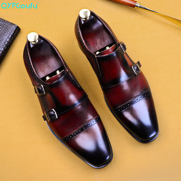 QYFCIOUFU Men Dress Shoes Slip On Buckle Derby Genuine Leather Shoes Summer Wedding Party Monk Strap Shoes For Man US Size 11.5