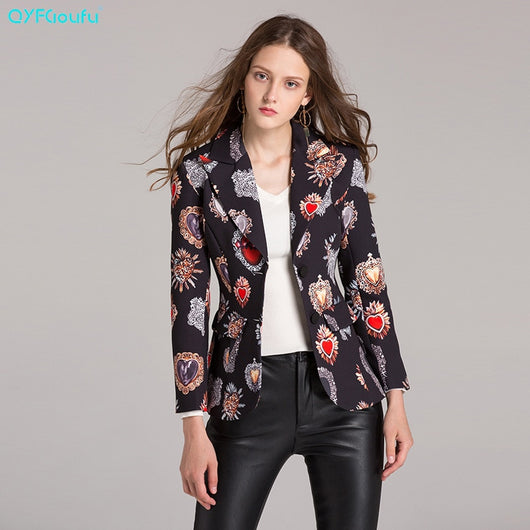 QYFCIOUFU New 2019 Spring and autumn Women Blazer Floral print Jackets Runway Casual Coat Blazer korean Women Blazers Tops Suit