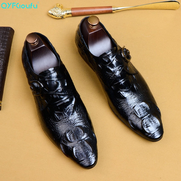 QYFCIOUFU New Classic Hasp Men Dress Shoes Genuine Leather Wedding Shoes Slip-On Men's Oxford Business Formal Shoes US Size 11.5