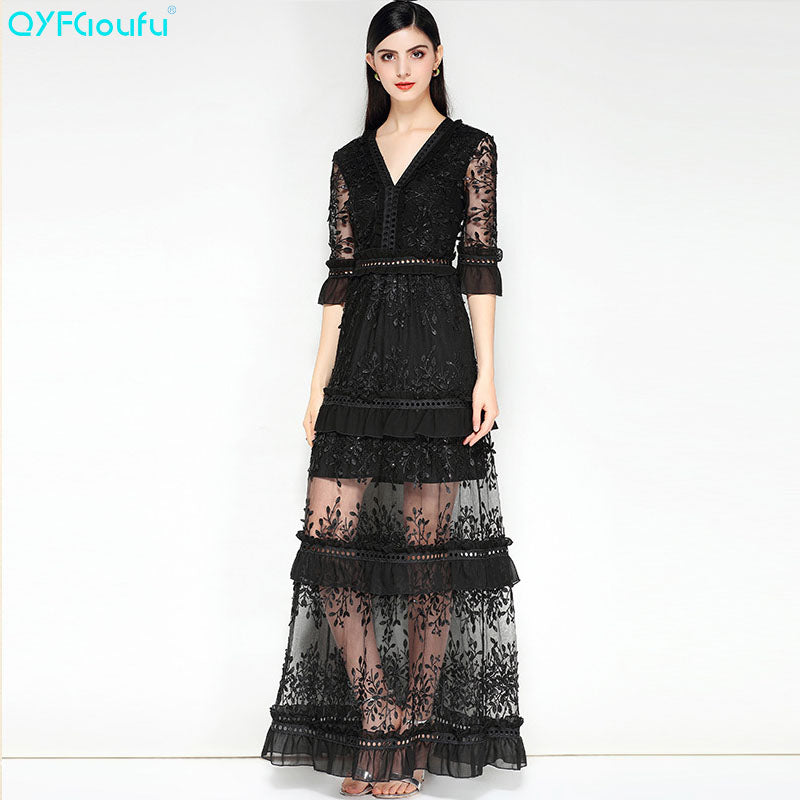 0cdbee35bccad QYFCIOUFU Summer V Neck Tulle Embroidery Ruffle Maxi Dress Women Half  Sleeve High Quality Runway Party Long Formal Dresses