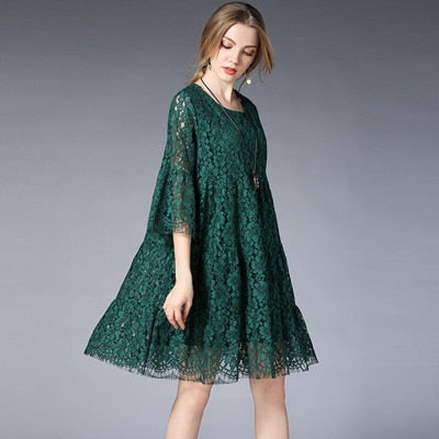c21b4ae874e ... Queechalle Green Red Black Lace Dress for Women Three Quarter Hollow  Out Flare Sleeve A- ...
