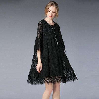 4da63687ea7a ... Image of Queechalle Green Red Black Lace Dress for Women Three Quarter Hollow  Out Flare Sleeve ...