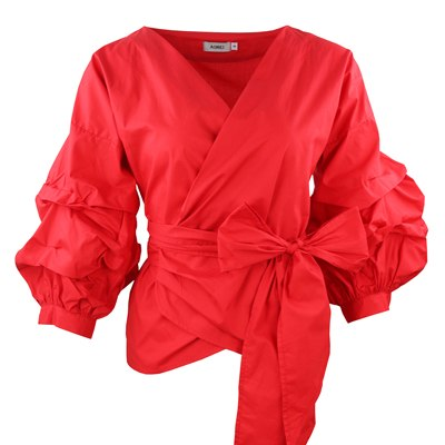 1e9a61509e6 ... Puff Sleeve Blouse Shirt Women s Slim Shirts with bow belt. Hover to  zoom