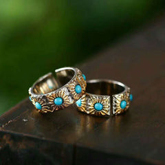 RADHORSE 925 Silver Rings for Women Fine Jewelry Turquoise Sun Flower Modeling Sterling Silver Ring Opening Silver Ring