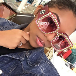RFOLVE Vintage Big Square Sunglasses UV Glasses Fashion Sunglasses Women Brand Designer Rhinestone Frame Big Sun Glasses R8397