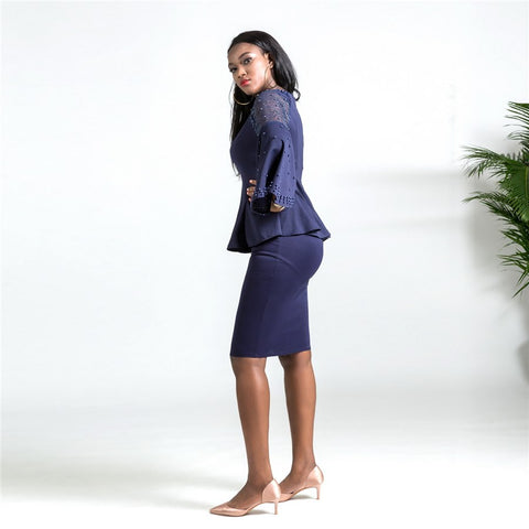 RICHE BAZIN African women's dress autumn and winter new beaded Sweatshirt + half body bag hip pencil skirt suit