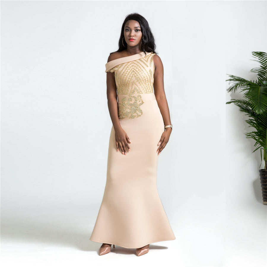 b50d6d6365a4e RICHE BAZIN New Africa hot space layer slant shoulder sequined slim  fishtail dress Plus size L-XXL